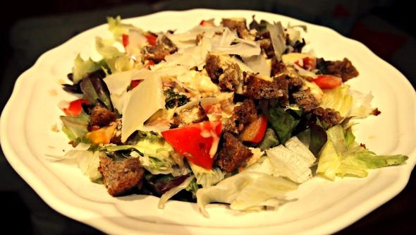Rye sourdough bread croutons in Caesar salad