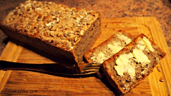 Homemade rye sourdough bread with butter