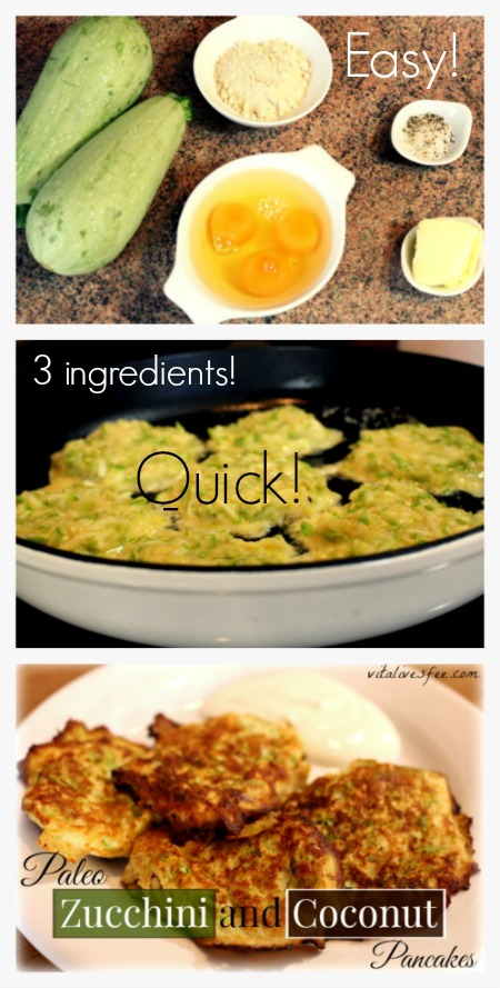 Paleo Zucchini Coconut Pancakes: My Go-To Easy Breakfast. More holistic living tips at vitalivesfree.com