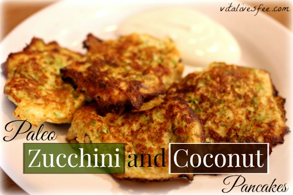 Paleo Zucchini and Coconut Pancakes: My Easy Go-To Breakast Recipe. More holistic living tips at vitalivesfree.com!